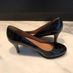 Nine West Faux Patent Leather Croc Pattern Heels